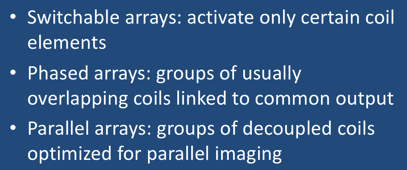MRI phased array, parallel array